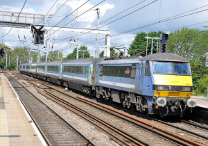 Class 90 at Ipswich in Greater Anglia livery